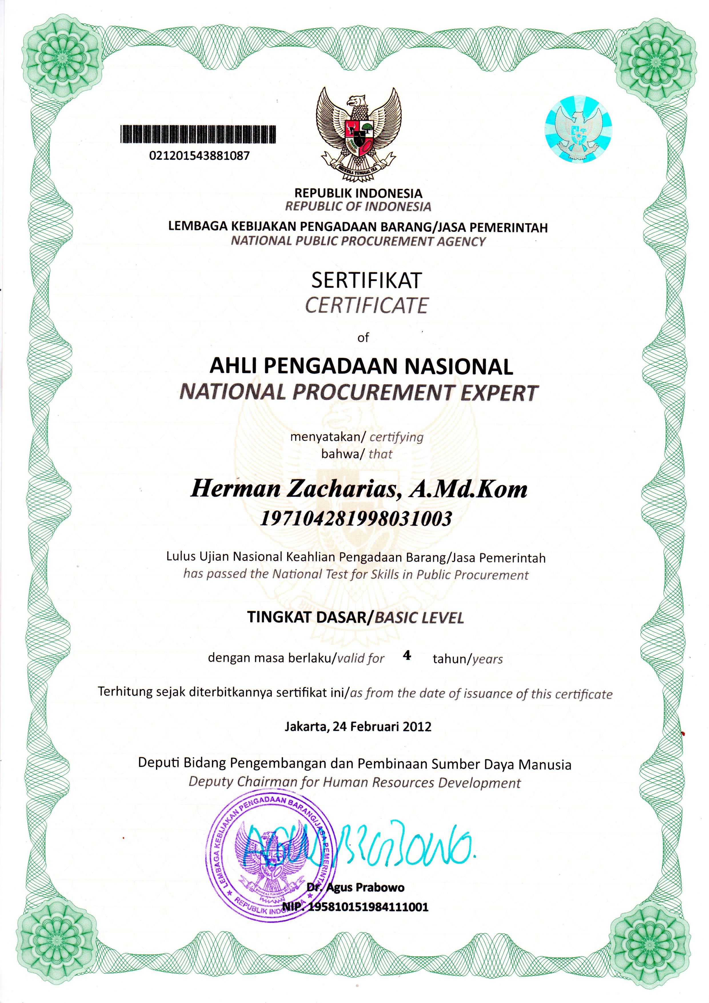 Sertifikat Ahli Pengadaan Nasional